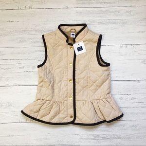 NWT Janie And Jack Khaki Quilted Peplum Vest